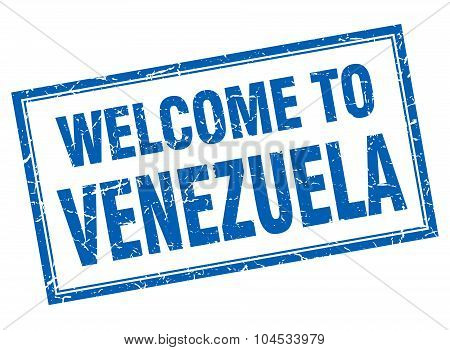 Venezuela Blue Square Grunge Welcome Isolated Stamp