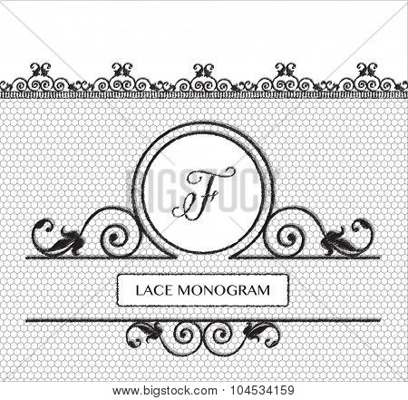 Letter F black lace monogram, stitched on seamless tulle background with antique style floral border.