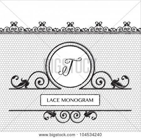 Letter T black lace monogram, stitched on seamless tulle background with antique style floral border.