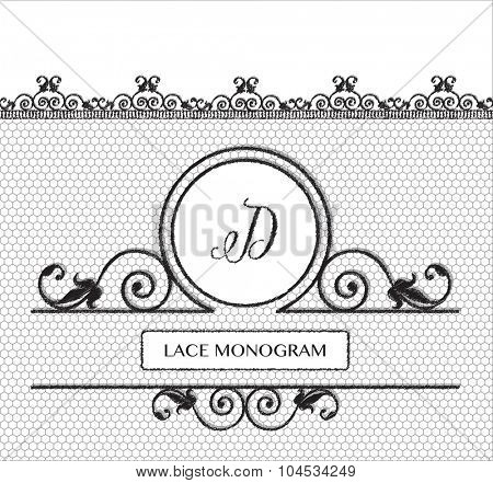 Letter D black lace monogram, stitched on seamless tulle background with antique style floral border.