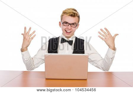 Smart student sitting with laptop isolated on white