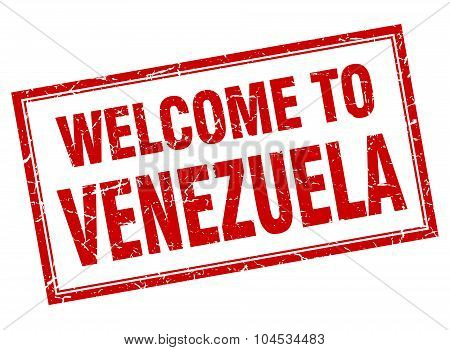 Venezuela Red Square Grunge Welcome Isolated Stamp