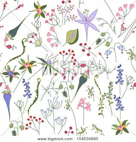 Seamless bright floral pattern with  different wild flowers. Endless texture for season nature design, announcements, postcards, posters.
