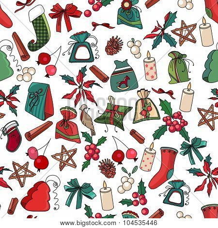 Seamless Christmas pattern with different decorative objects. Endless festive texture for design, announcements, postcards, posters.