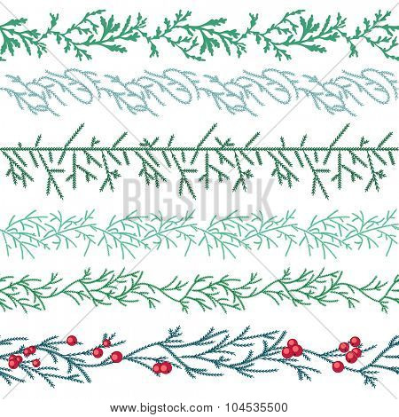 Seamless pattern brushes with  Christmas fir branches on white. Endless texture,  horizontal border for festive design, announcements, postcards, posters.