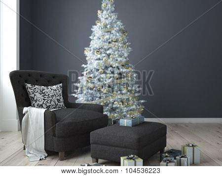 Christmas living room. 3d rendering