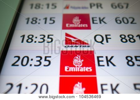 DUBAI, UAE - JUNE 04, 2014: close up shot of timetable screen in Dubai International Airport Terminal 3. Dubai International Airport Terminal 3 is an airport terminal at Dubai International Airport