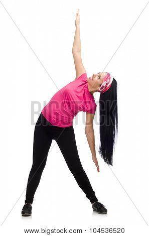 Woman doing exercises on white