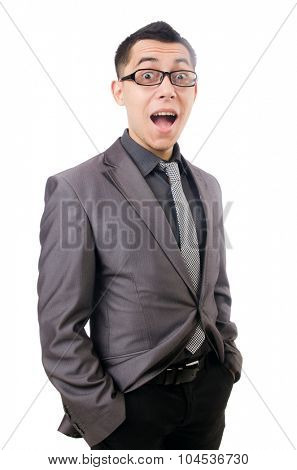 Young man in gray suit isolated on white