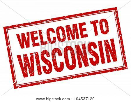 Wisconsin Red Square Grunge Welcome Isolated Stamp