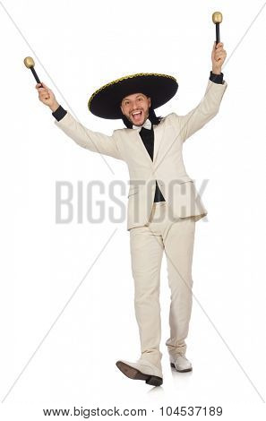 Funny mexican in suit holding maracas isolated on white