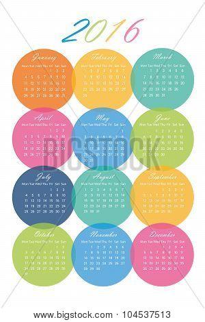 2016 Calendar in Colorful Circles - Vector