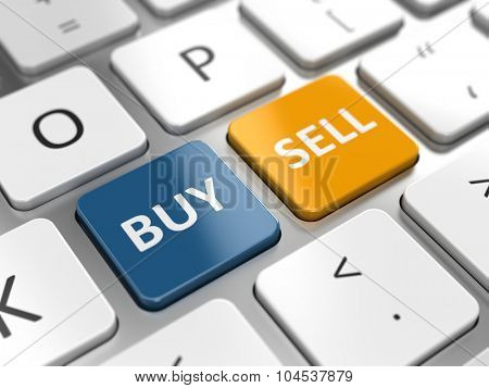Business trade or stocks online concept - buy and sell keys