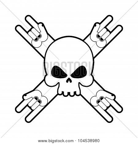 Skull With Hands Rock Sign. Logo For Fans Of Hard Rock Music