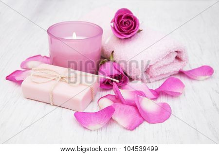 Bath Towels And Soap With Pink Roses