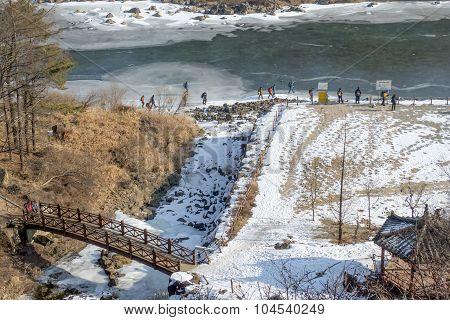 Frozen river for trekking activities