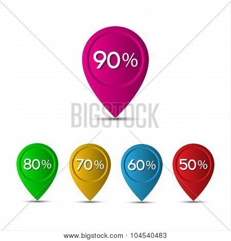 3D pointer with the percentage discounts