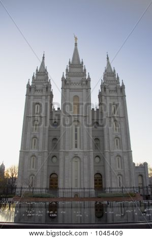Salt Lake Temple East Side And Pool At Dusk
