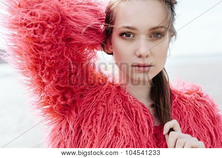 Portrait Of Beautiful Girl Close-up, Wind Fluttering Hair