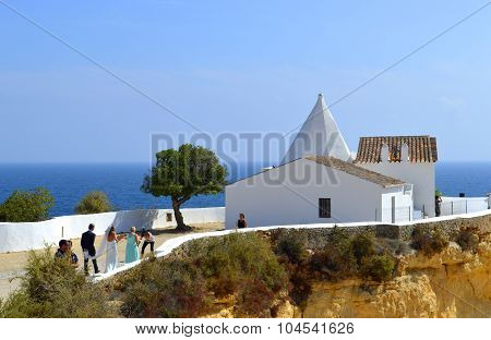Senhora da Rocha, Algarve, Portugal - September 27, 2014: A romantic wedding ceremony in the sun