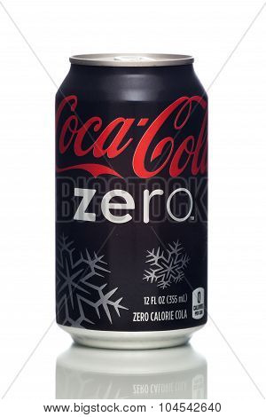 MIAMI, USA - JAN 19, 2015: Photo of a 12 ounce can of Coca-Cola Zero with a Christmas design.