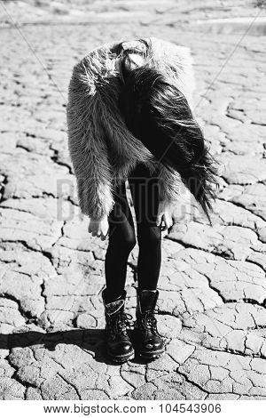 Portrait Of Beautiful Girl , Wind Fluttering Hair