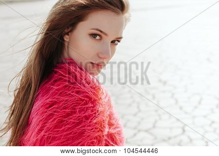 Outdoors Portrait Of Young Pretty Female Model