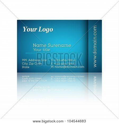 Vector illustration of modern blue business card