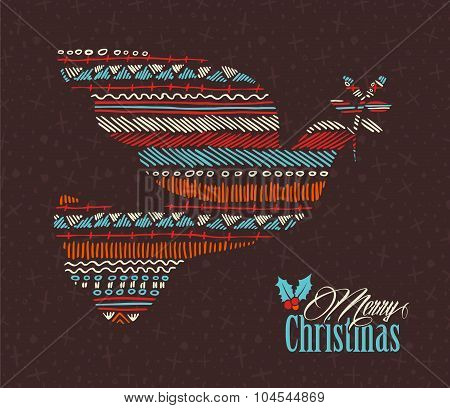 Merry Christmas Dove Boho Tribal Stripe Shape