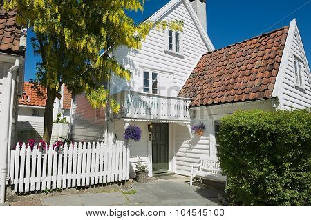 Exterior of the traditional wooden house in Stavanger, Norway.