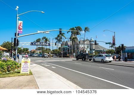 The main street in Carlsbad, California