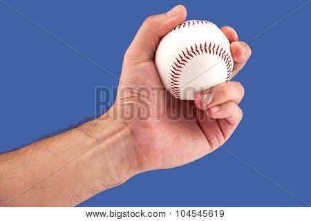 Player with a baseball in hand