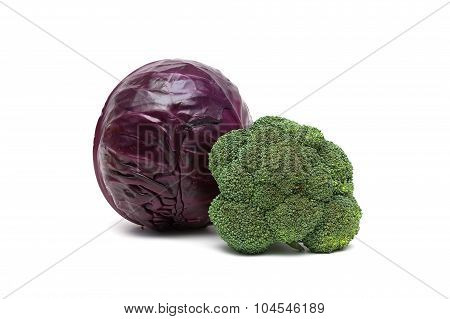 Red Cabbage And Broccoli Isolated On White Background