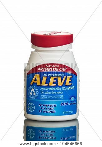 MIAMI, USA - February 9, 2015: Bottle of ALEVE 220mg naproxen sodium pain and fever reducing tablets