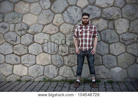 Handsome big moustache hipster.