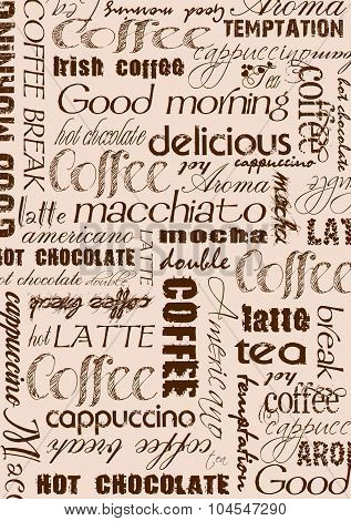 Menu Coffee text cloud background