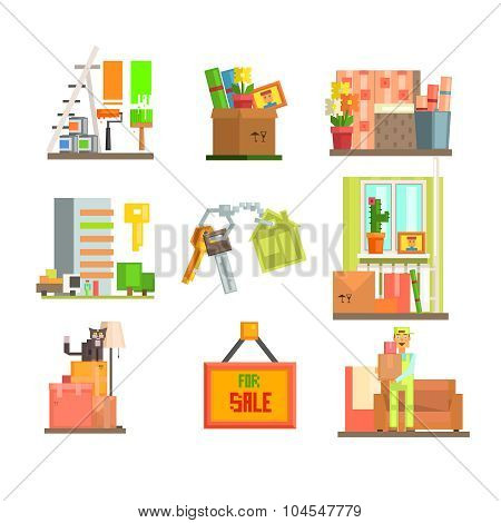 Repair and Moving Web Icon Set. Vector Illustration in Flat Style