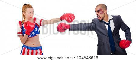 Businessman and girl boxing isolated on white