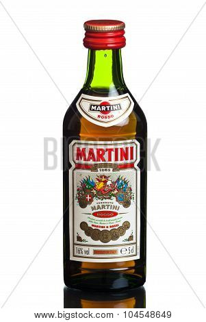 MIAMI, USA - February 19, 2015: Vintage bottle of Martini & Rossi. Italian brand since the 1860s.