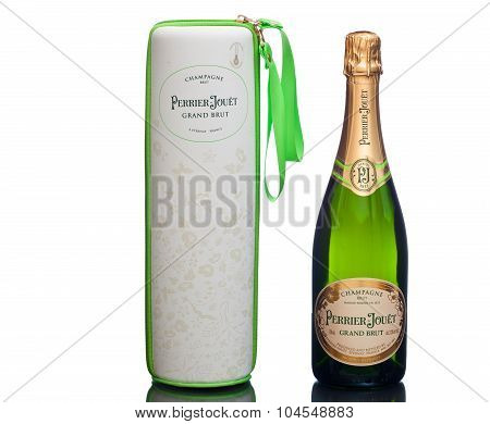 MIAMI, USA - March 24, 2015: Champagne bottle with enchanting nature case.