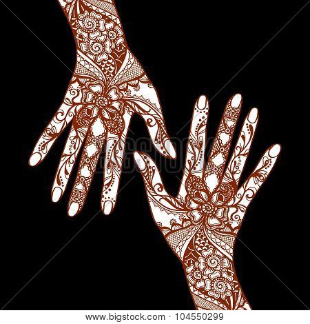 Mehendi Hands On Black Background