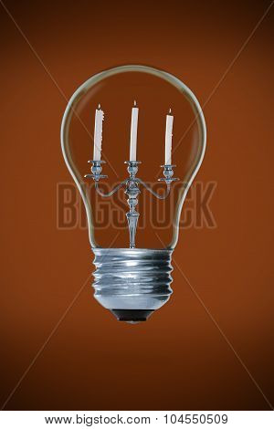 Candelabra inside light bulb