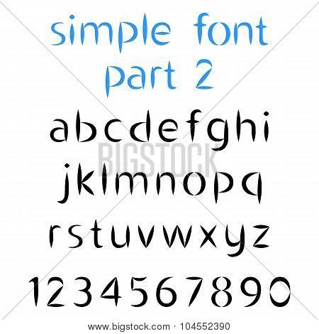 Simple Font, The Second Part. Lowercase Letters And Numbers With Sharp Ends. Vector Illustration