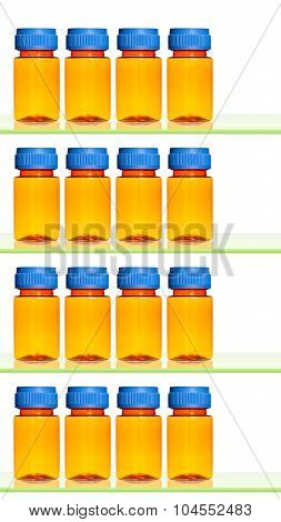 Empty medicine bottles on shelves