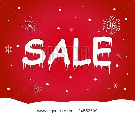 Banner winter sale on beautiful red background with snowflakes and snow. Sale. Winter sale. Vector i