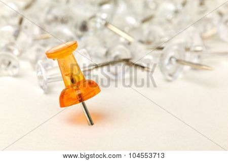 Close up of a push pin