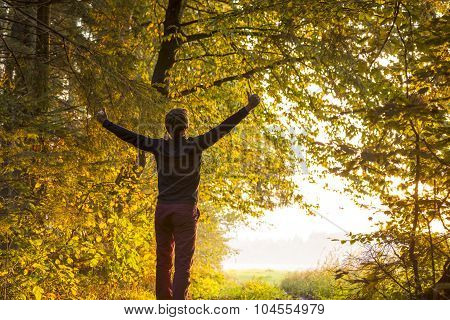 Young Man Standing On The Edge Of Forested Area Raising His Arms In Celebration And Embracement