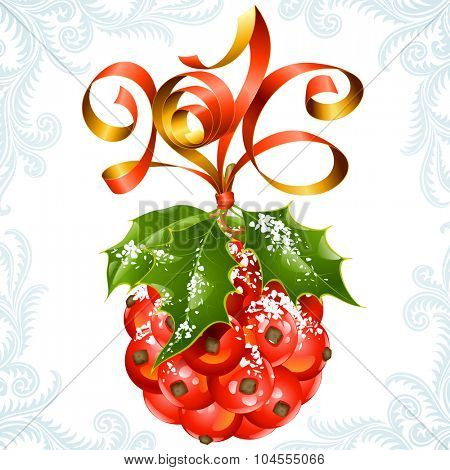 Vector ribbon in the shape of 2016 and holly ball. Christmas and New Year greeting card