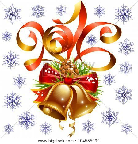 Vector Christmas and New Year 2016 decoration set. Red ribbon, golden bell, snowflake