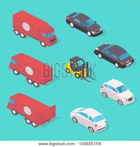 Isolated transport design concept set vector illustration